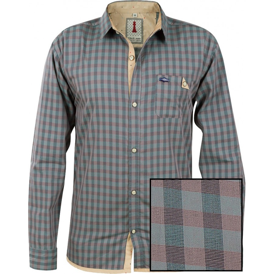 Sapphire Check Smart Casual Shirt Design 1