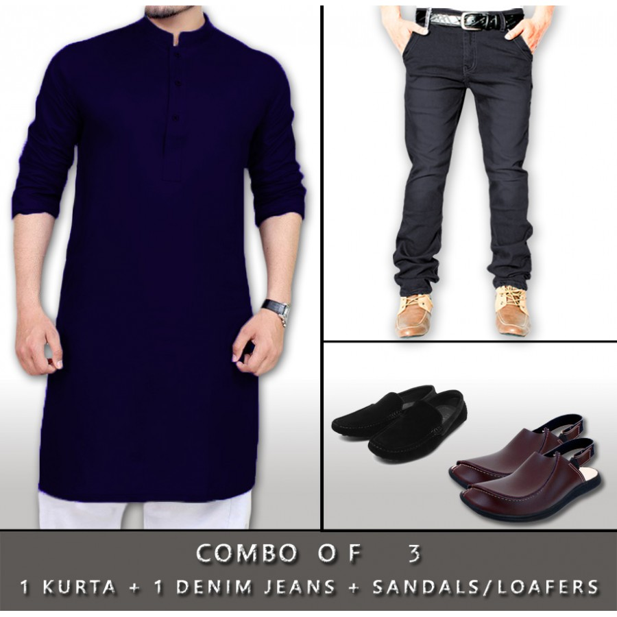 1 KURTA + 1 DENIM JEANS + SANDALS