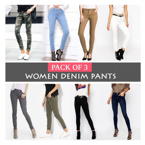Pack Of 3 Women Denim Pants