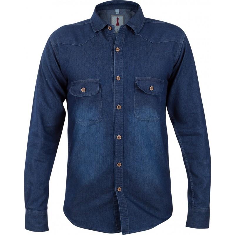 Deep Blue Denim Smart Casual Shirt Design 1