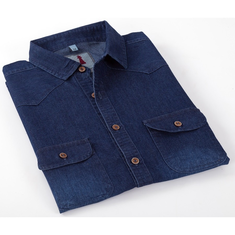 Deep Blue Denim Smart Casual Shirt Design 1