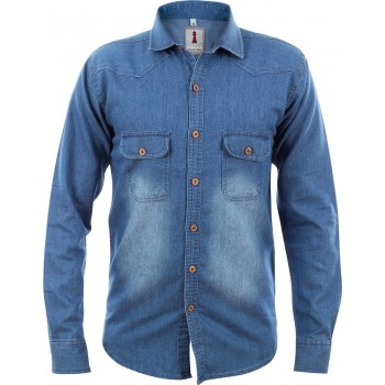 Mid Blue Denim Smart Casual Shirt Design 1