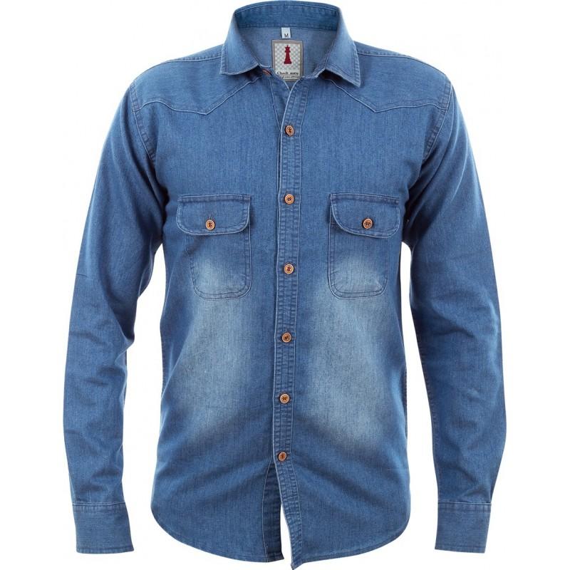 Mid Blue Denim Smart Casual Shirt Design 1