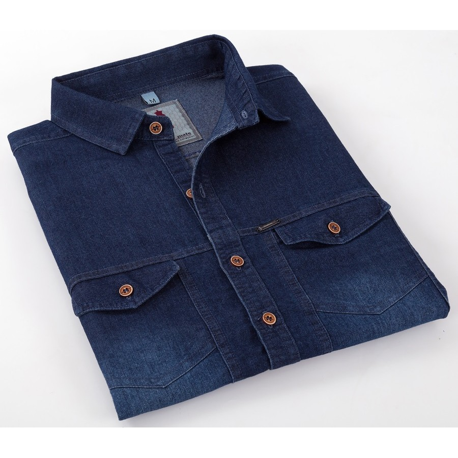 Deep Blue Denim Smart Casual Shirt Design 2