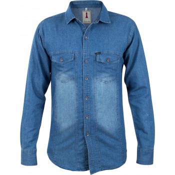 Mid Blue Denim Smart Casual Shirt Design 2