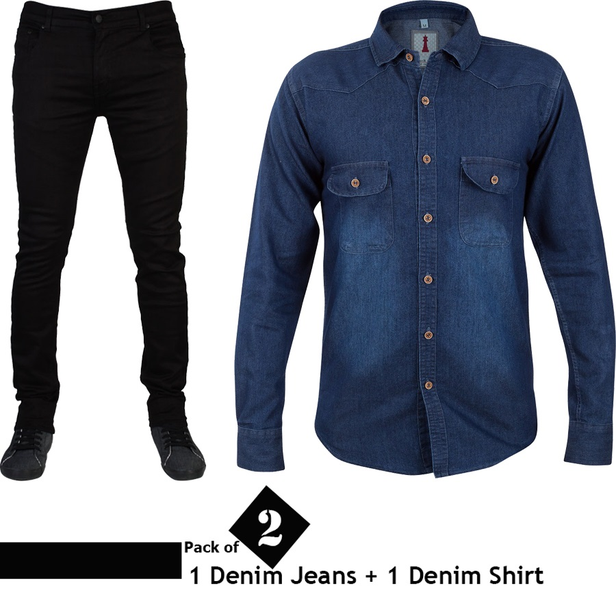 Pack of 2 (1 Denim Jeans + 1 Denim Shirt)