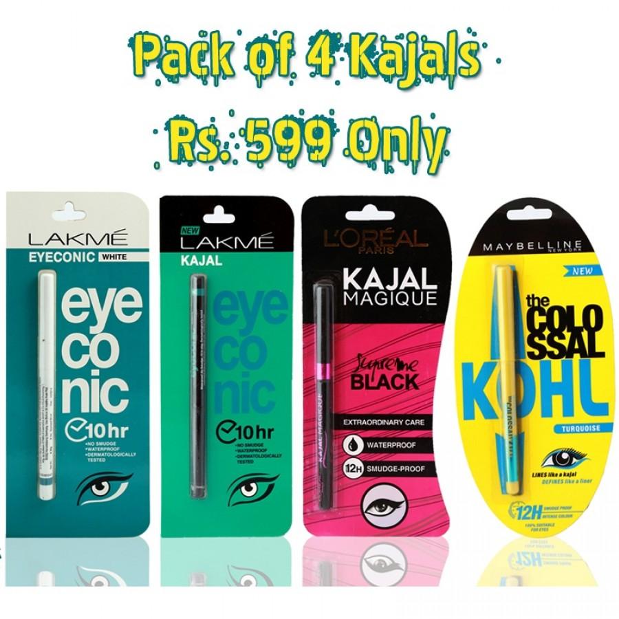 Pack Of 4: Maybelline Colossal Kajal Torquise , LOREAL Kajal MaGIQUE Black , LAKME EYECONIC KAJAL Black & LAKME EYECONIC WHITE