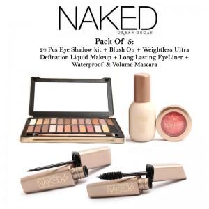 Urban Decay Naked Pack Of 5: 24 Pcs Eye Shadow Kit + Blush On + Weightless Ultra Definition Liquid Makeup + Long Lasting Eyeliner + Waterproof & Volume Mascara