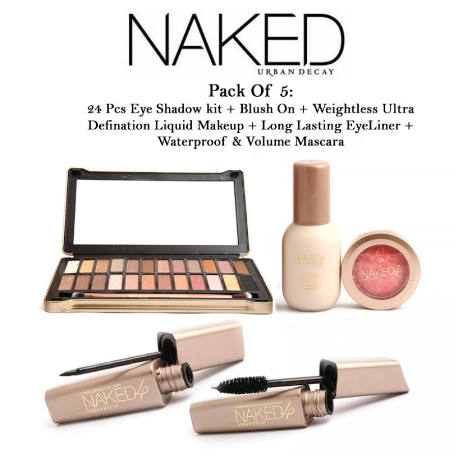 Urban Decay Naked Pack Of 5: 24 Pcs Eye Shadow Kit + Blush On + Weightless Ultra Definition Liquid Makeup + Long Lasting Eyeliner + Waterproof & Volume Mascara