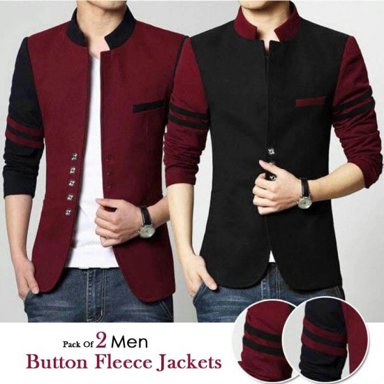 Pack Of 2 Mens Button Fleece Jackets