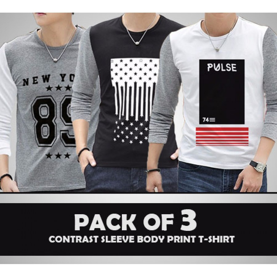 Pack of 3 Contrast Sleeve Body Print T-Shirt