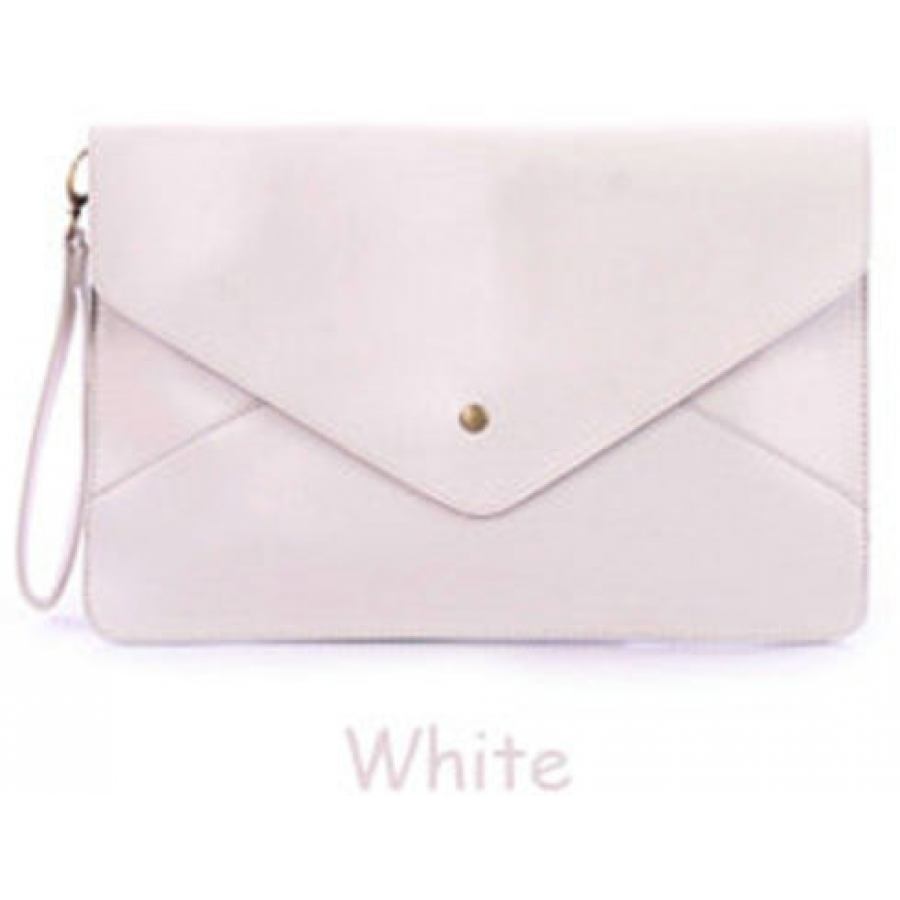 Envelope Clutch Chain Purse White