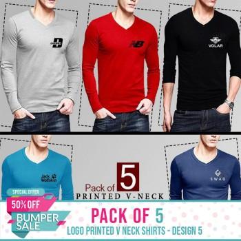 Pack of 5 Logo Printed V Neck Shirts - Design 5-  Bumper Discount Sale