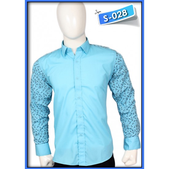 S&J Black Flowers With Blue Shirt