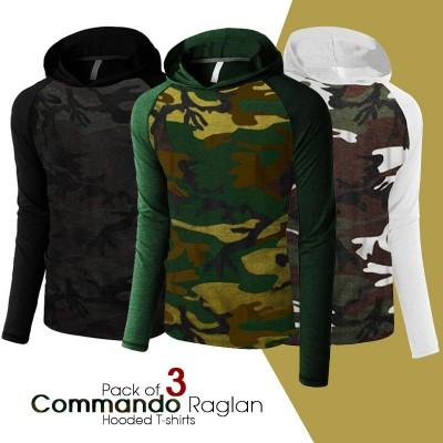 Pack of 3 Commando Raglan Hooded T-shirts