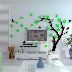 Tree, Leaves And Bird Wall Art - (3 Colors)