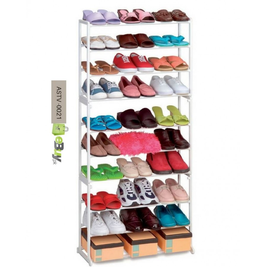 10 Tier Plastic Free Standing Shoe Rack Fits 30 Pairs