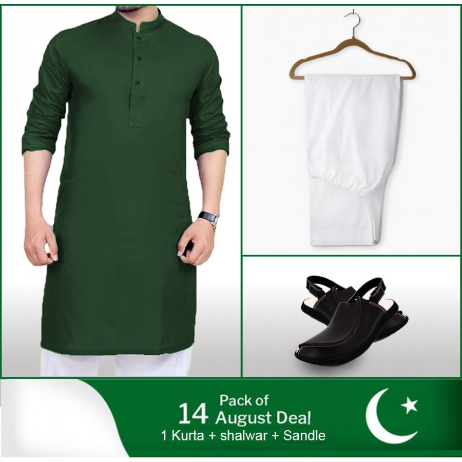 Pack of 3: 14 August Deal 1 kurta + 1 Shalwar + 1 Sandle