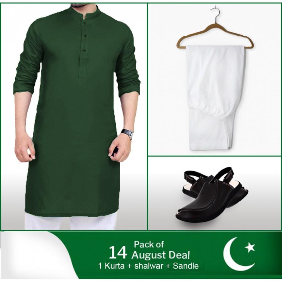 Pack of 3: 14 August Deal 1 kurta + 1 Shalwar + 1 Sandle