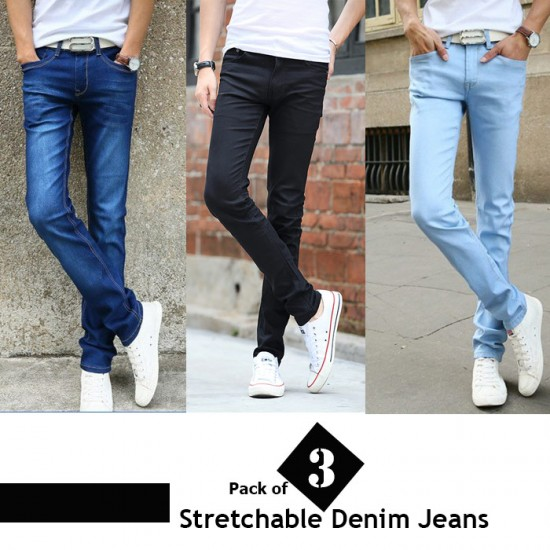 Pack of 3 Stretchable Denim Jeans