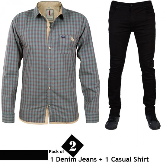 Pack of 2 (1 Denim Jeans + 1 Casual Shirt)