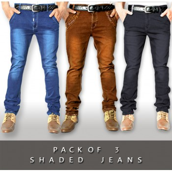 Pack of 3 Stretchable Shaded Denim Jeans