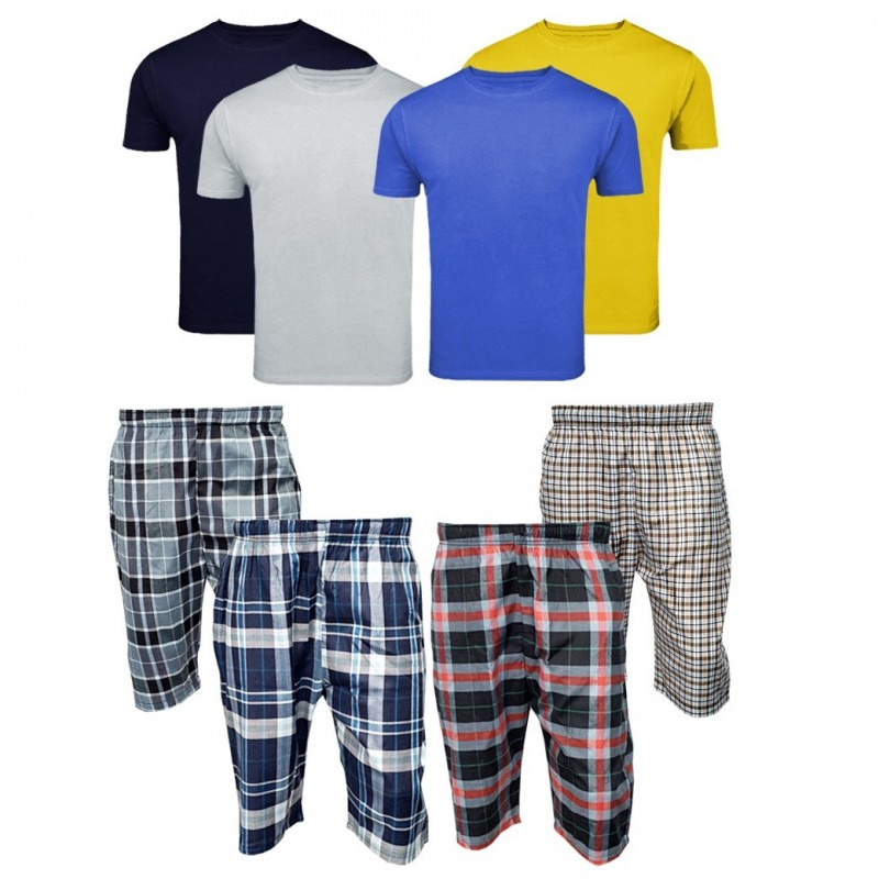 4 Checkered Shorts - 4 Round Neck T Shirts