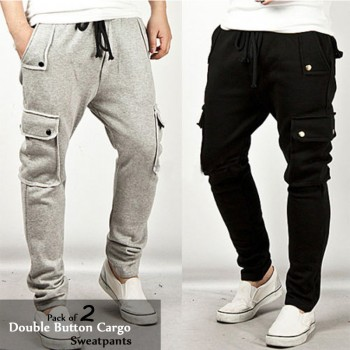 Pack of 2 Double Button Cargo Sweatpants