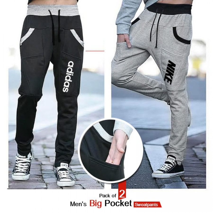 Pack of 2 Men Big Pocket Sweatpants