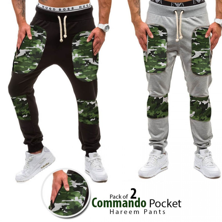 Pack of 2 Commando Pocket Hareem Pants