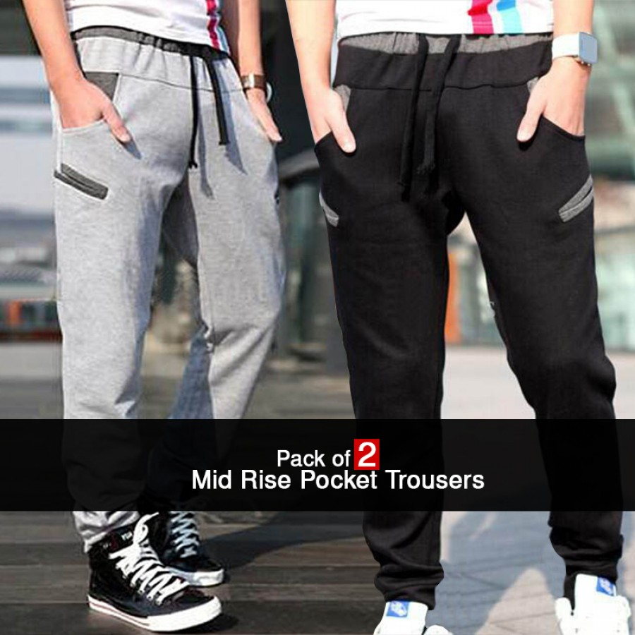 Pack of 2 Mid Rise Pocket Trousers
