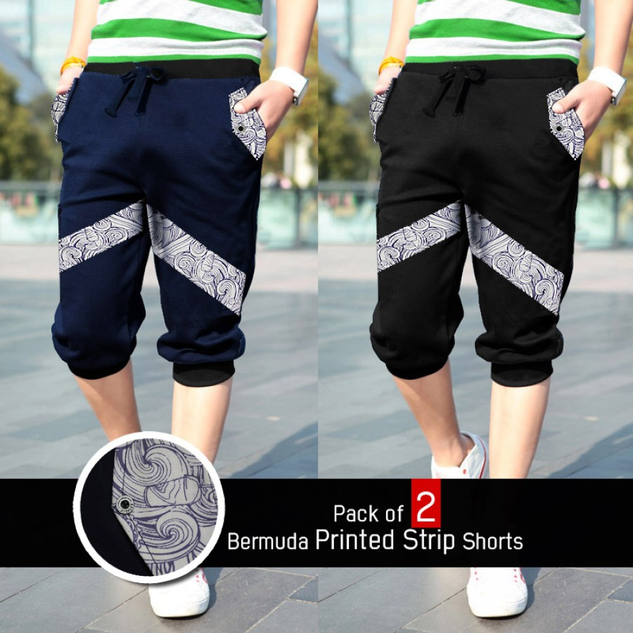Pack of 2 Bermuda Printed Strip Shorts