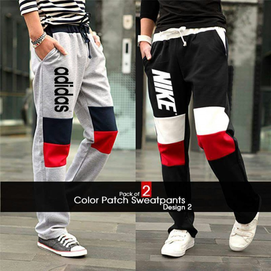 Pack of 2 Color Patch Sweatpants Trousers Design  2
