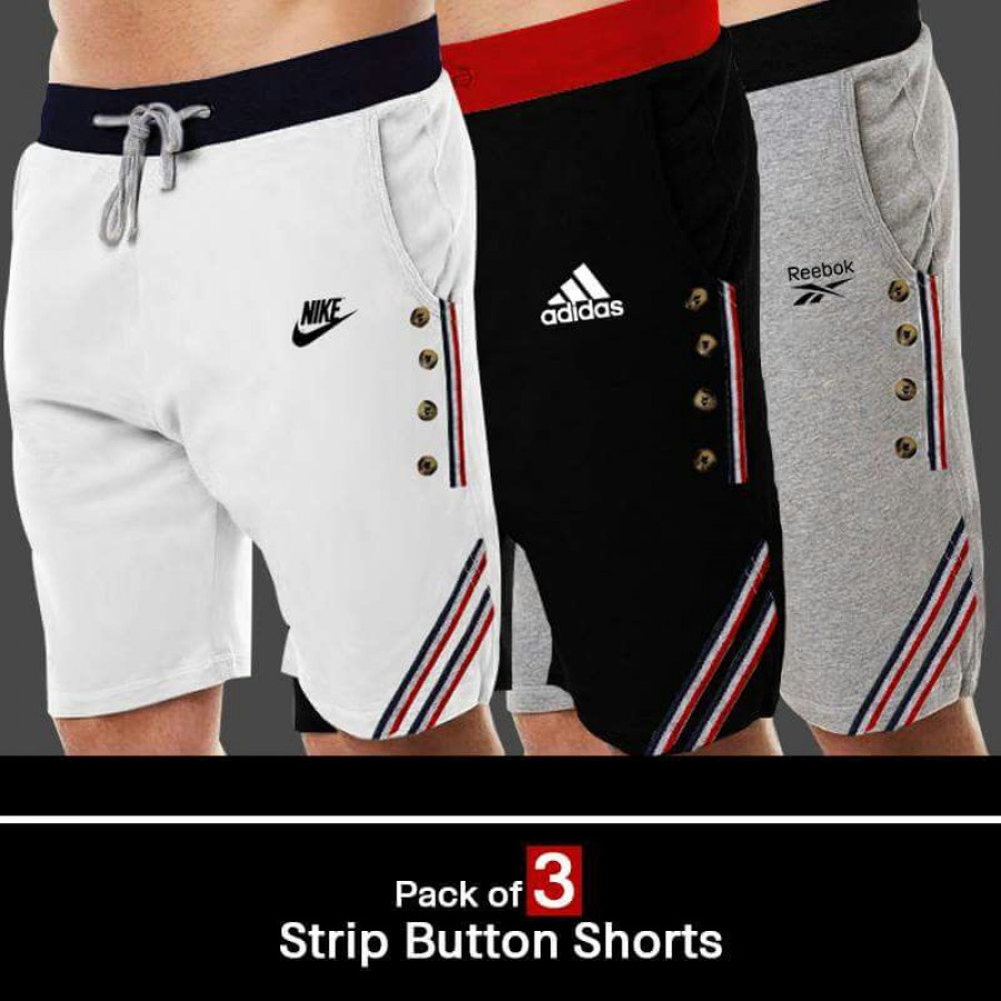 Pack of 3 Strip Button Shorts