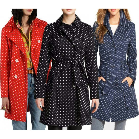 Polka Dots Ladies Coat For Coat.
