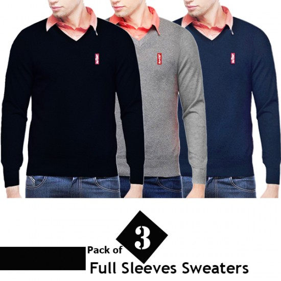 Pack of 3 V Neck Full Sleeves Sweaters