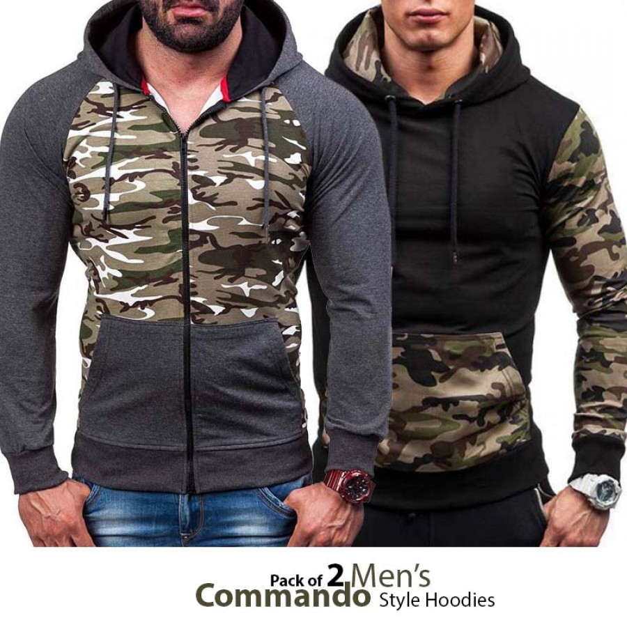 Pack of 2 Mens Commando Style Hoodies