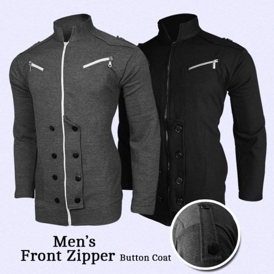 Mens Front Zipper Button Coat
