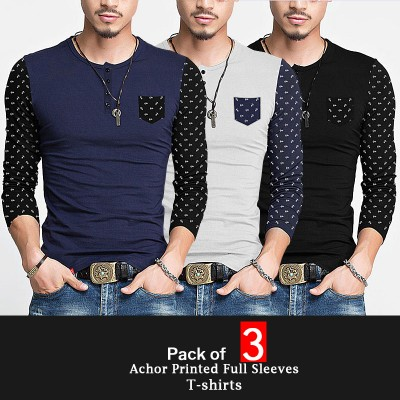 Pack of 3 Achor Printed  Full T-Shirts