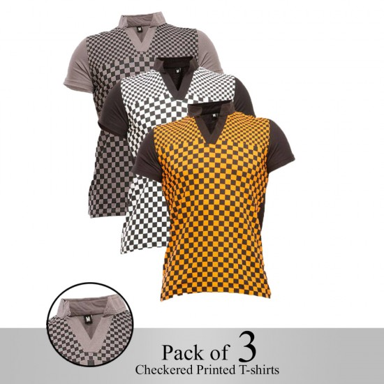 Pack of 3 Checkered Printed T-shirt