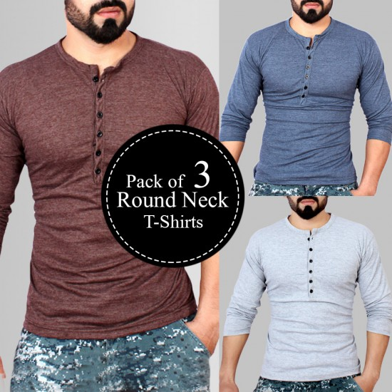 Pack Of 3 Round Neck Button Style Texture T-Shirts