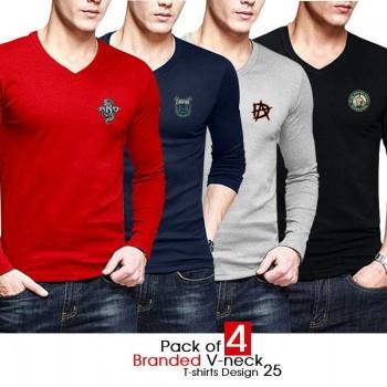 Pack of 4 Branded V-neck T-shirts Design 25
