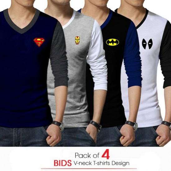 Pack of 4 BIDS V-neck T-shirts