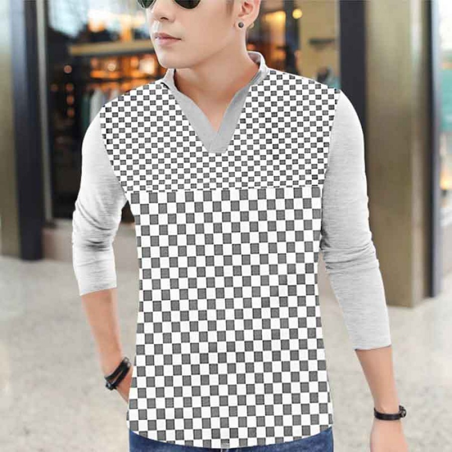 Pack of 3 Checkered Male Casual T-shirts Design 4