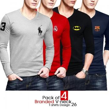 Pack of 4 Branded V-neck T-shirts Design 26