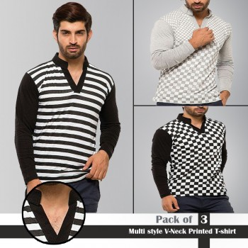 Multi style V-Neck Printed T-shirt
