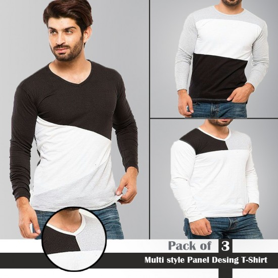 Multi style Panel Design T-Shirt