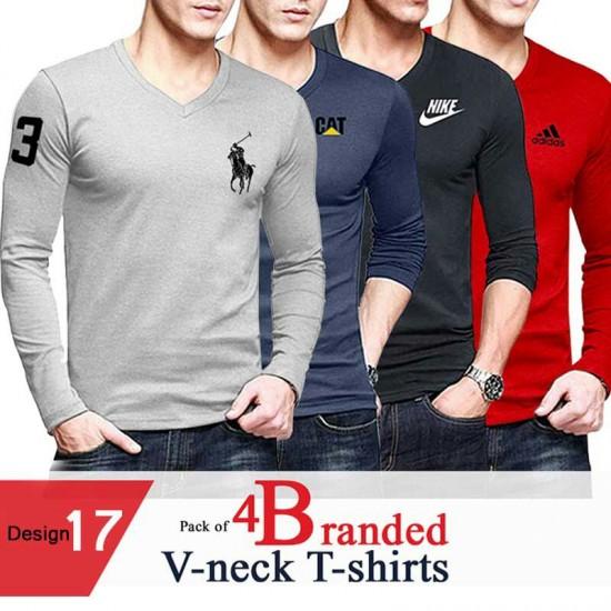 Pack of 4 Branded V-Neck T-shirt