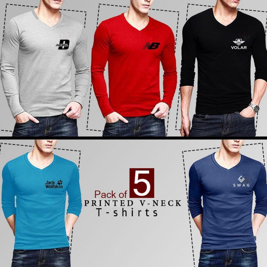Pack of 5 Logo Printed V Neck Shirts - Design 5
