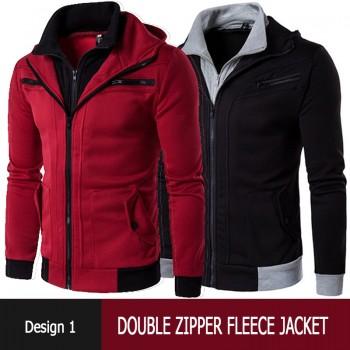 Double Zipper Fleece Jacket Design 1